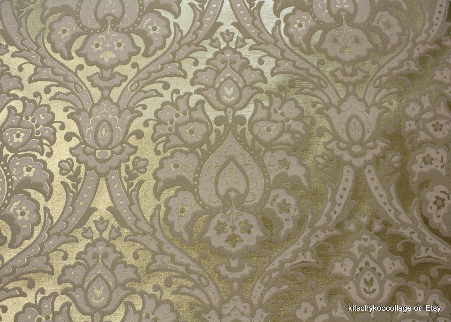 1970s Vintage Flocked Wallpaper Metallic Gold and white flocked 1500x1072