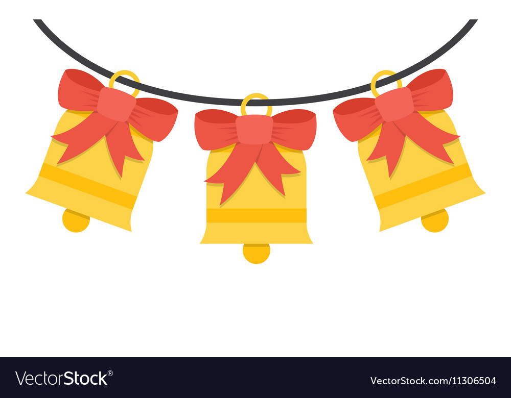 Jingle bells with red bow on a white background Vector Image 1000x780