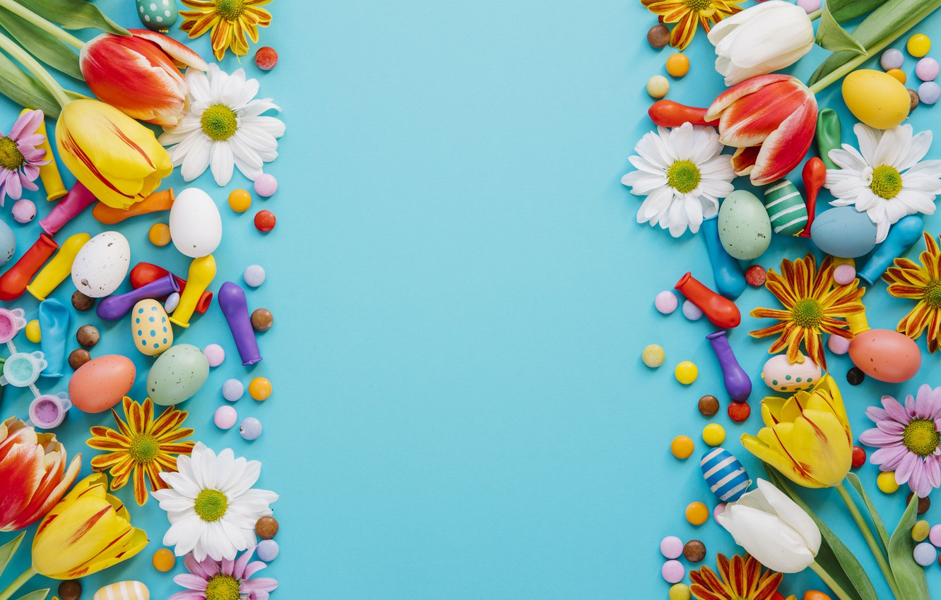 Wallpaper holiday spring colorful Easter blue flowers Easter 1332x850