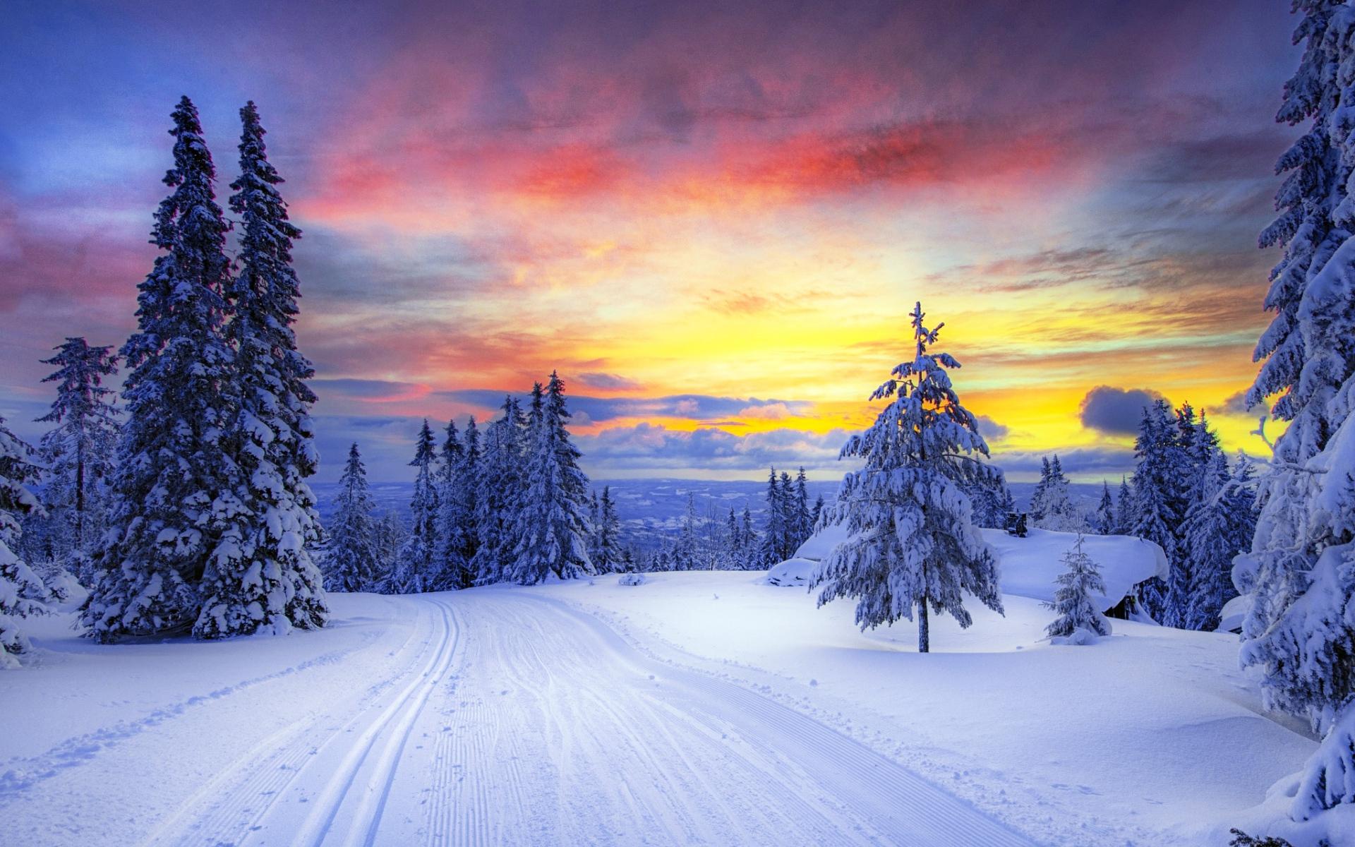 Snowy Sunset Wallpaper Wallpapersafari