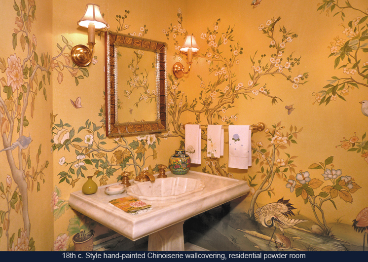 Hand painted Chinoiserie wallpaper private residence Hillsborough 746x531
