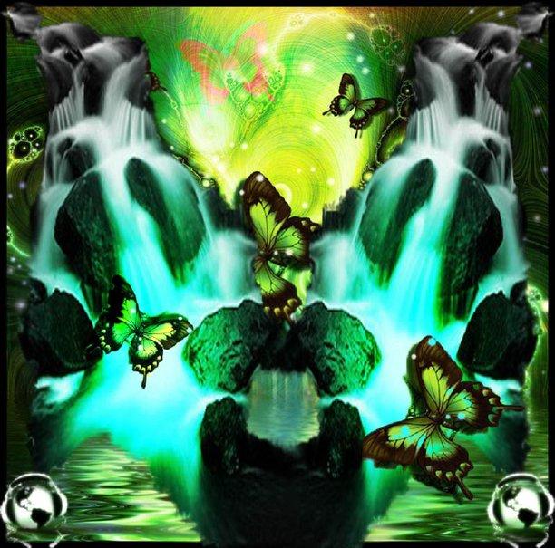 Green Butterflies Wallpaper Neon green butterfly falls 612x605