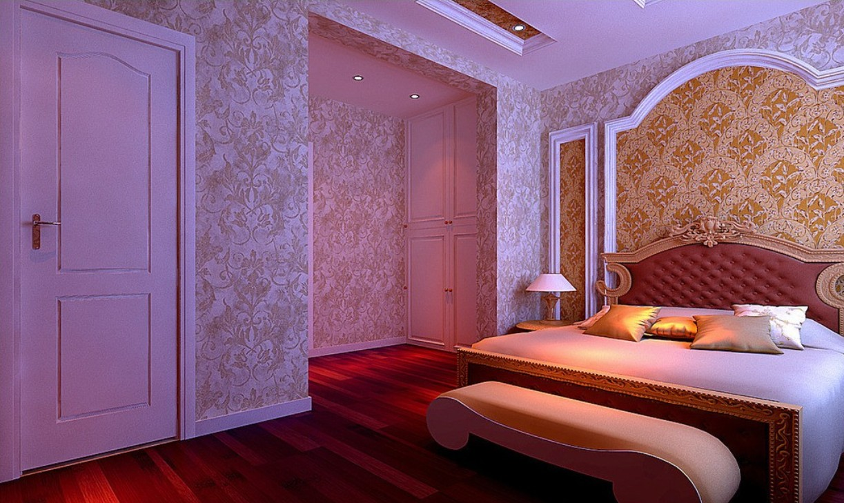 Bedroom wallpaper night rendering neoclassical style 3D house 1223x729