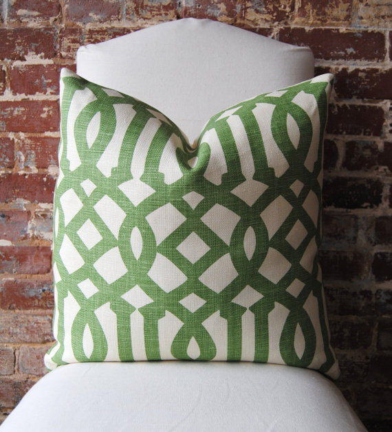 Green geometric trellis print pillow from Martha and Ash 570x629