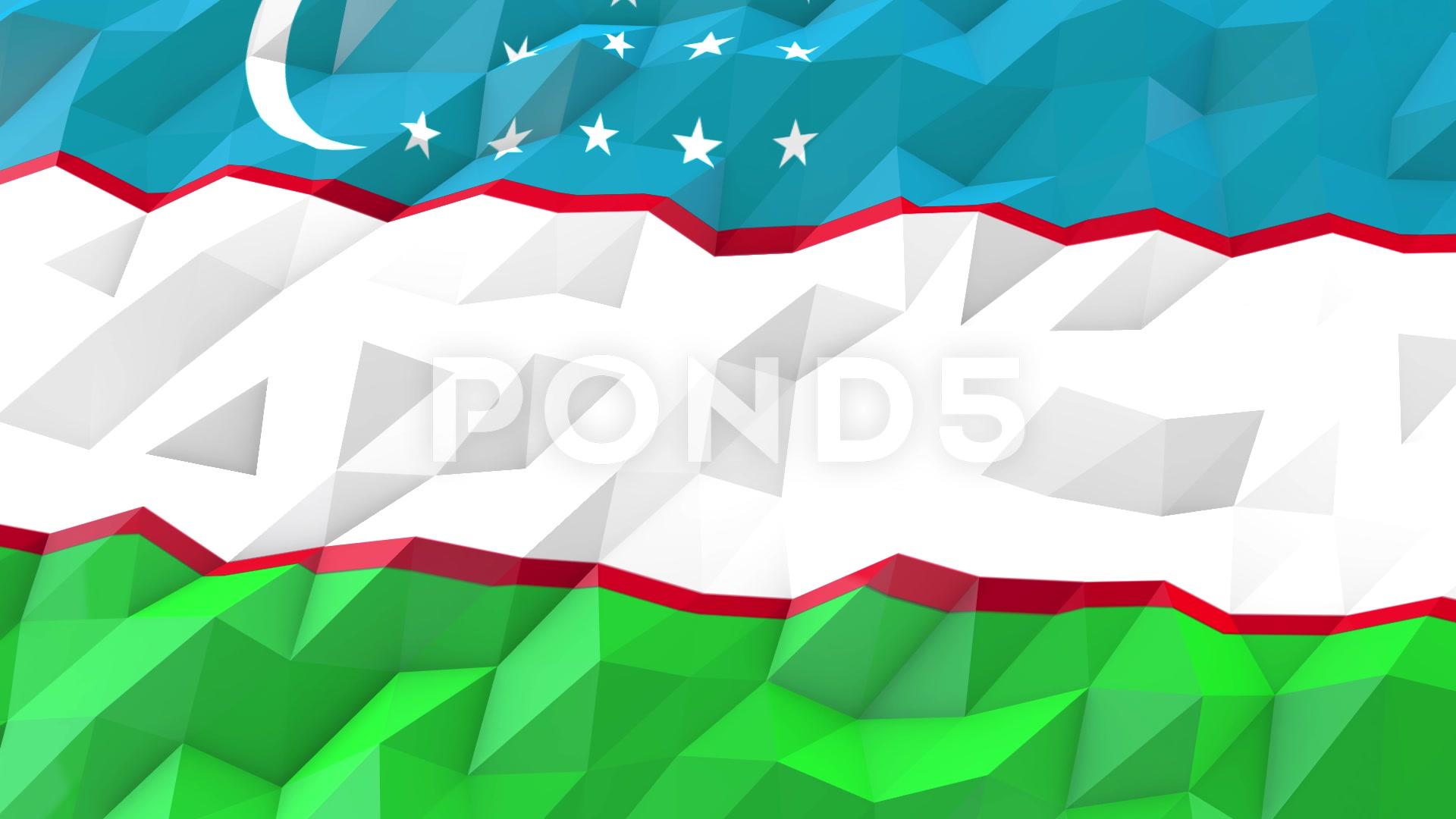 Flag of Uzbekistan 3D Wallpaper Illustration Footage 66416593 1920x1080