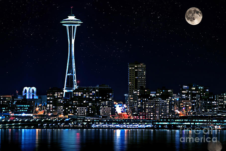 Seattle Skyline At Night With Full Moon by Valerie Garner 900x601