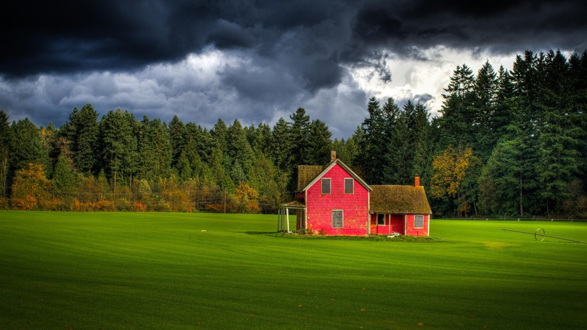 nature ferme rouge milieu champs sous ciel orage wallpaper red farm 1920x1080