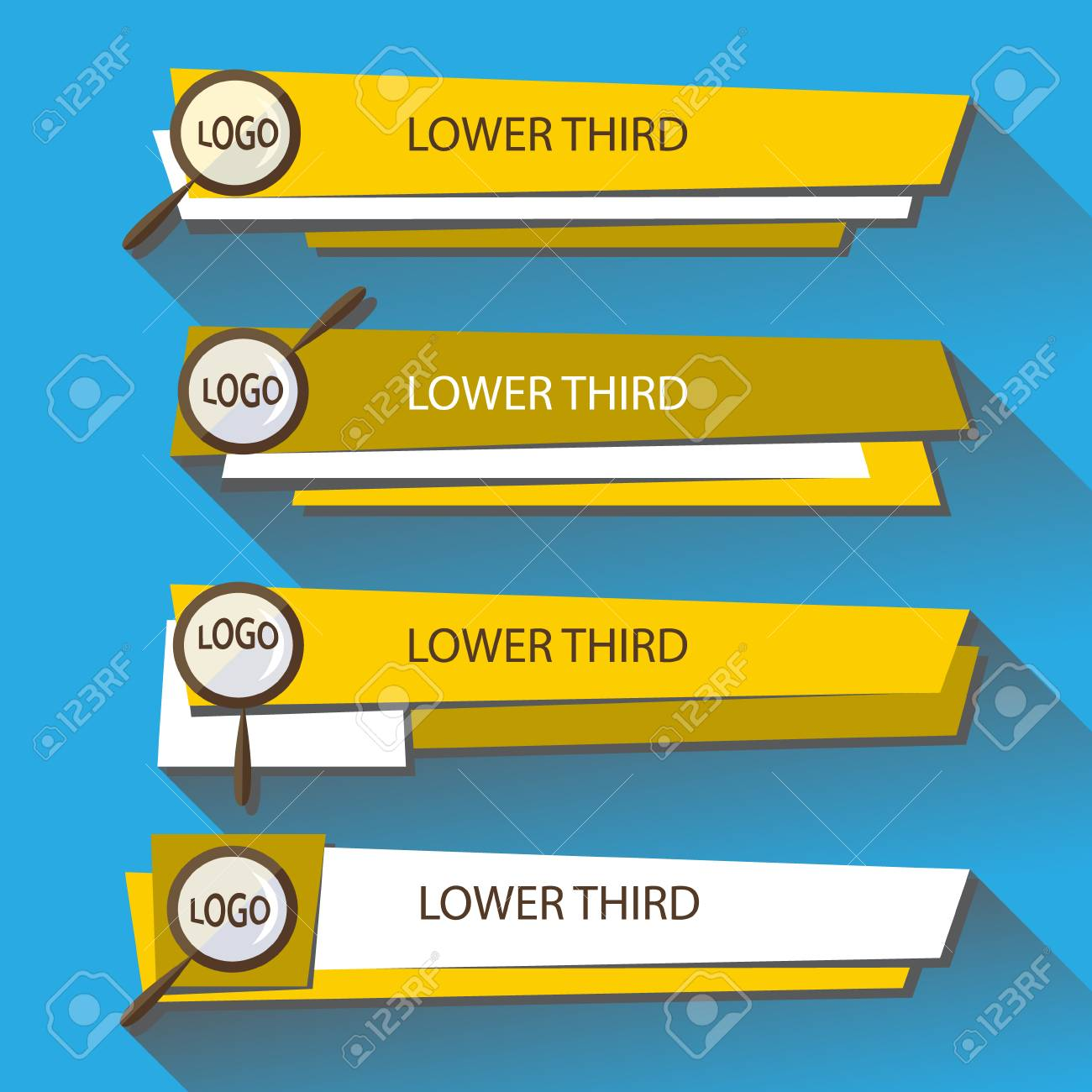 Set Banners Lower Third In The Yellow And White Colors On A 1300x1300