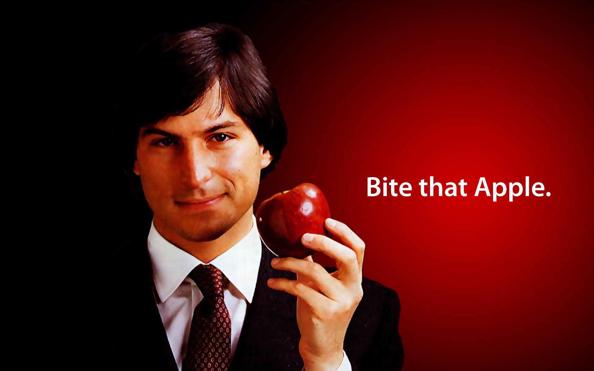 Bite that Apple younger Steve Jobs wallpaper 1920x1200