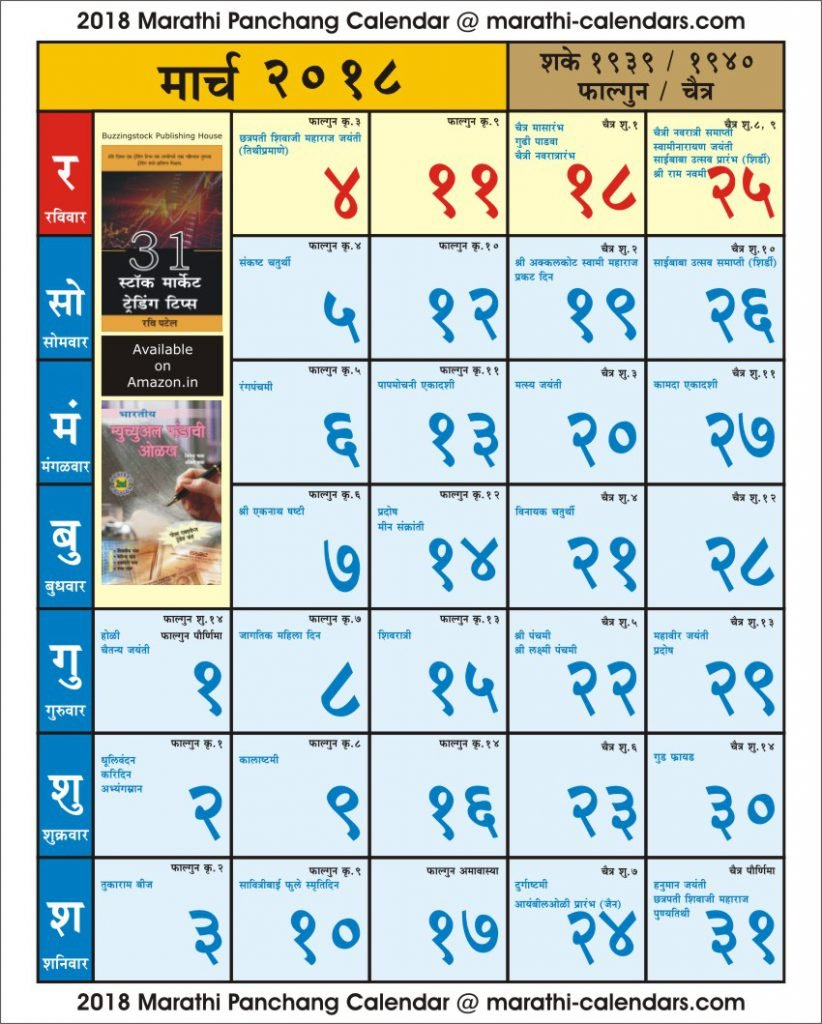 March 2018 Marathi Calendar Panchang Wallpaper PDF Download 822x1024