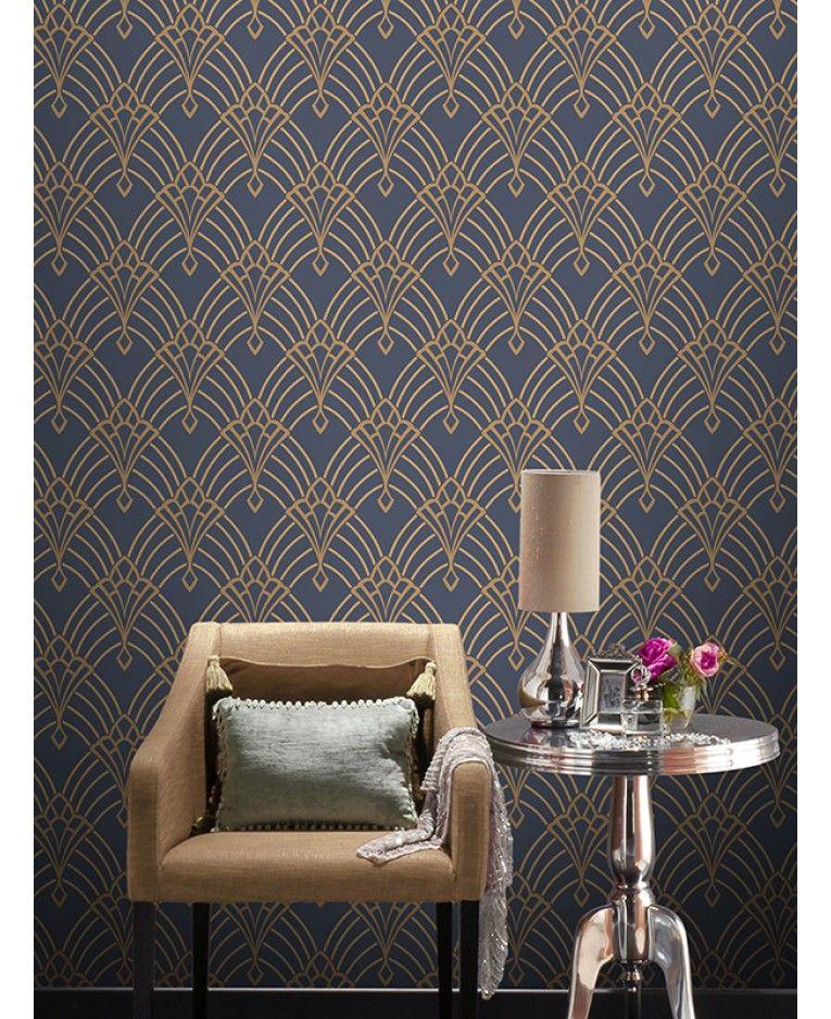 This Astoria Deco Wallpaper features a gold geometric art deco 765x937
