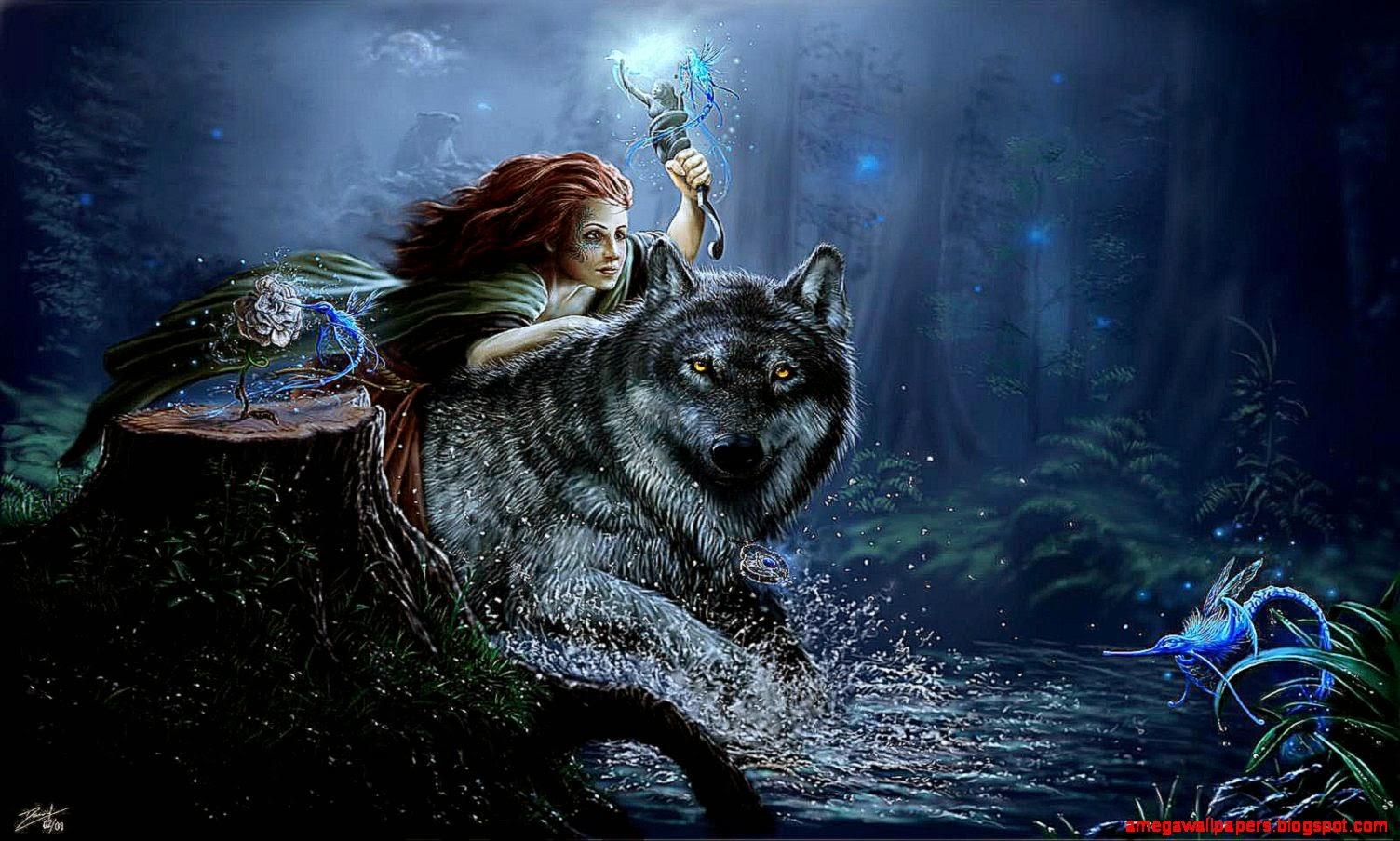 wolf girl wallpaper