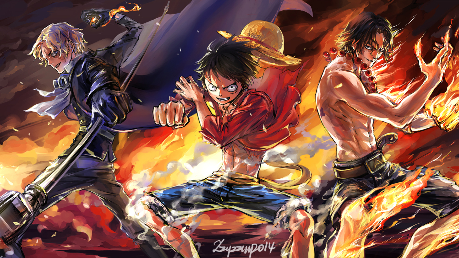 sabo monkey d luffy and fire fist portgas d ace one piece 1920x1080