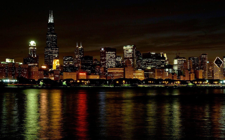 Desktop wallpaper chicago skyline wallpapersafari - Skyline night wallpaper ...