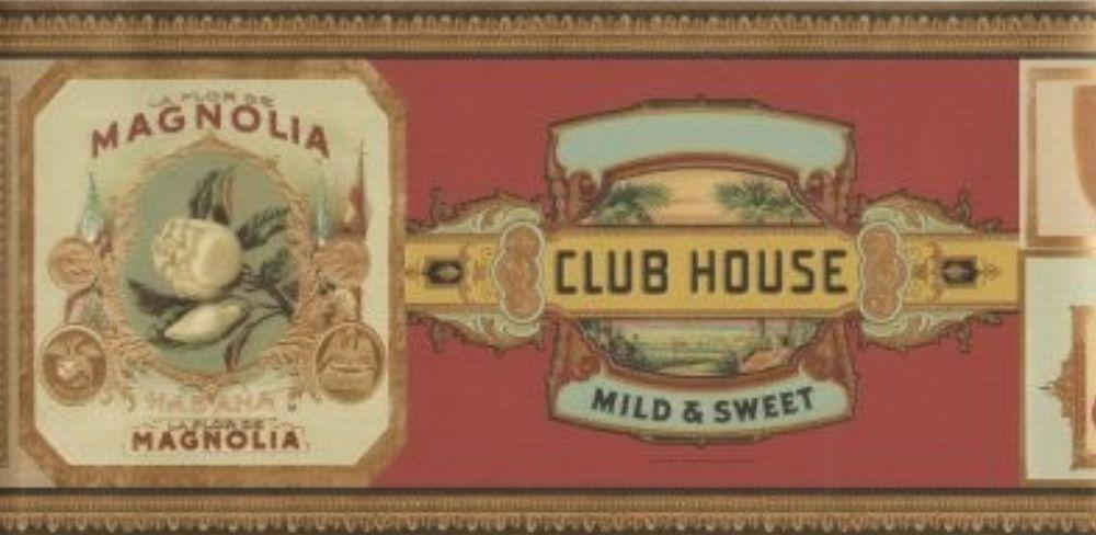 Wallpaper Border Designer Classic Cuban Cigar Labels Tobacco eBay 1000x488