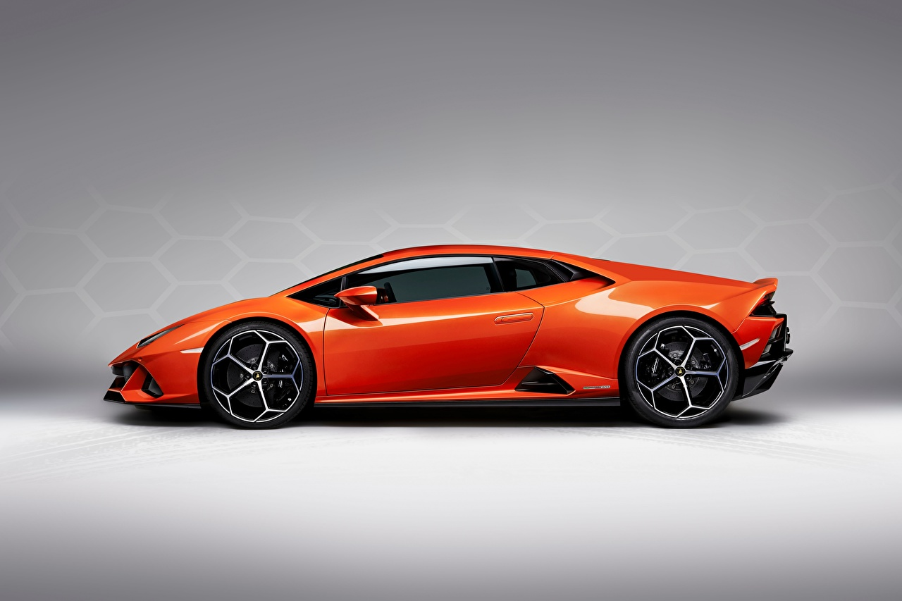 Wallpaper Lamborghini Evo Huracan Orange Cars Side Gray background 1280x853