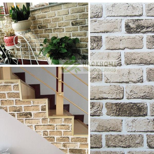 Self Adhesive Removable Brick Wallpaper Lt Brown Kitchen Bathroom 17 7 600x600