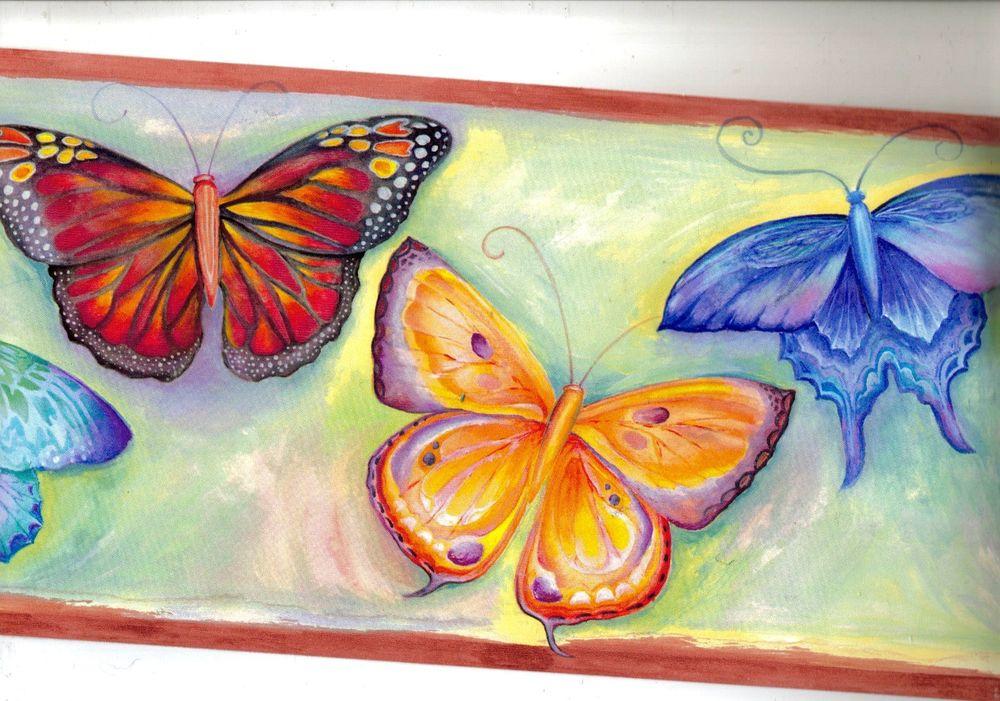 Watercolor Butterflies Wallpaper Border GU92142B eBay 1000x701