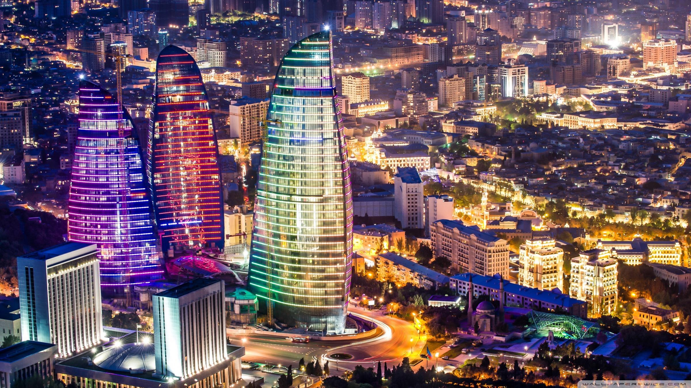 Flame Towers Baku Azerbaijan 4K HD Desktop Wallpaper for 2400x1350