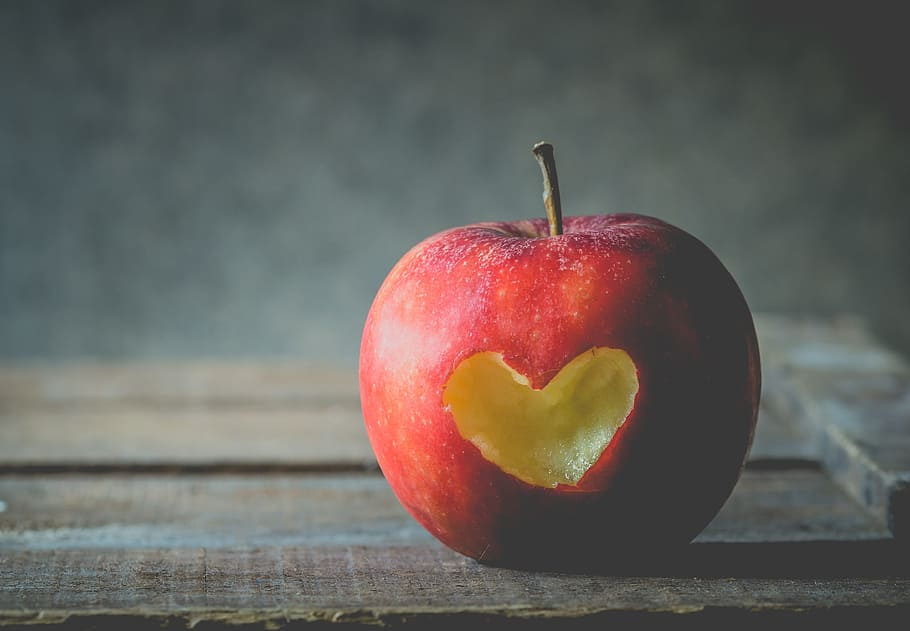 HD wallpaper shallow focus photo of red apple fruit love 910x631