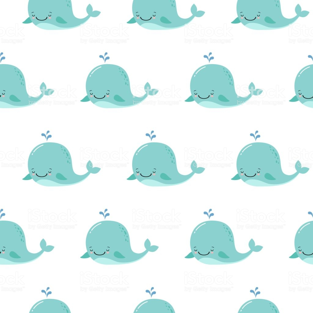 Cute Background With Cartoon Blue Whales Kawaii Animal Pattern 1024x1024