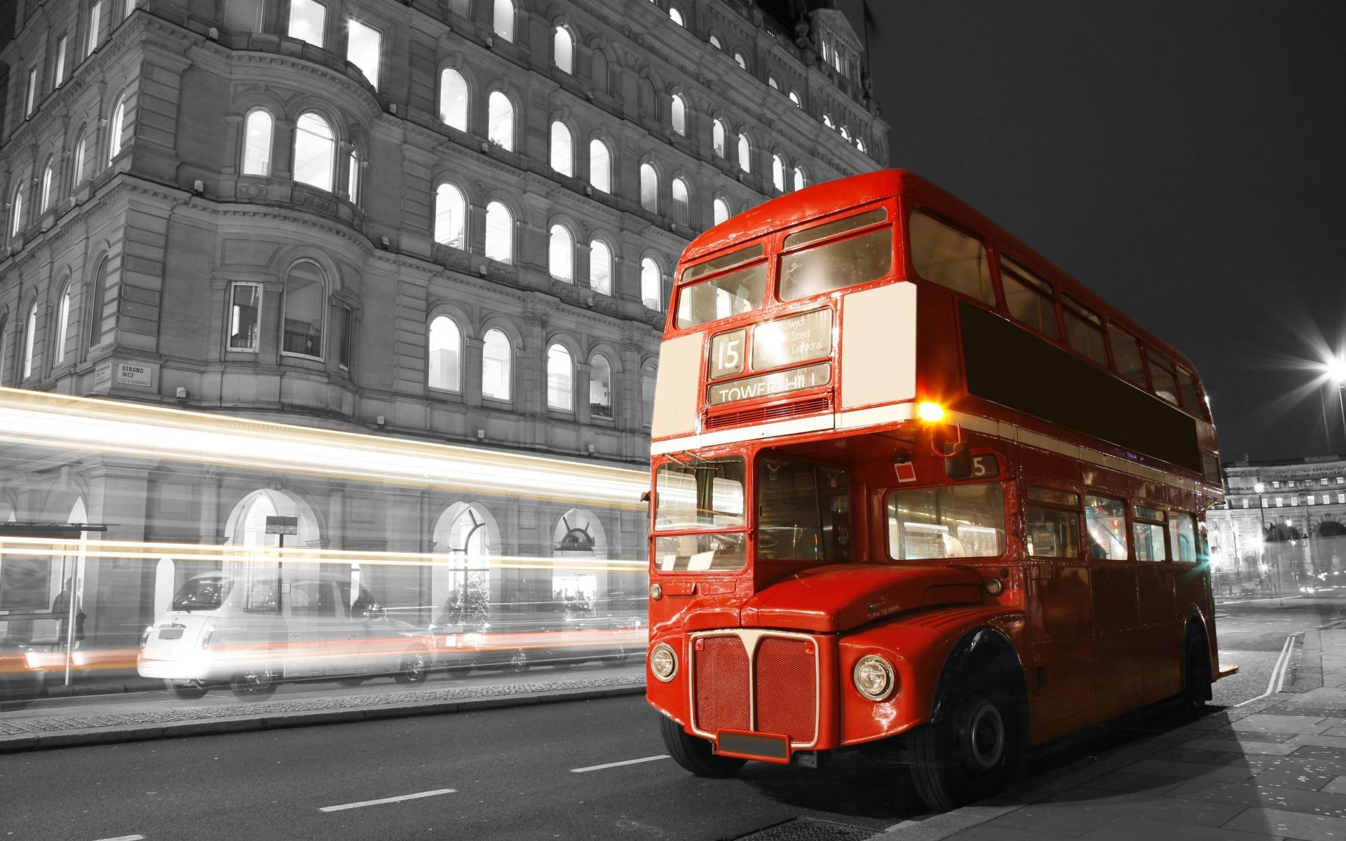 london england bus night lights blur street road city black white 1920x1200
