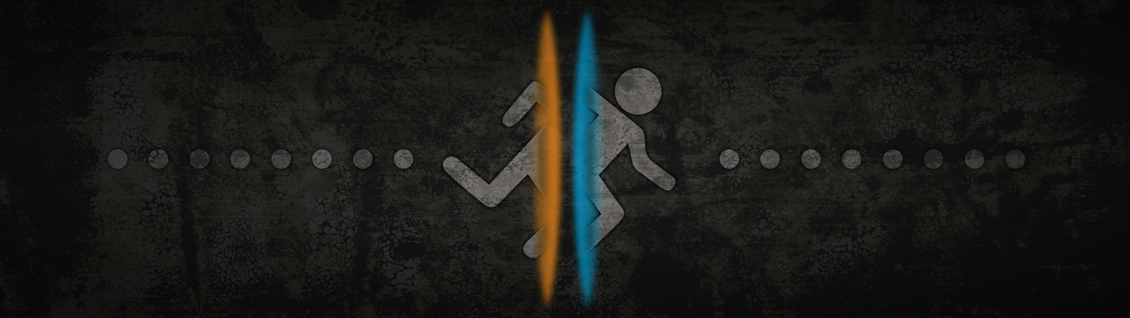 Portal 2 Dual Screen Wallpaper gaming 3830x1080