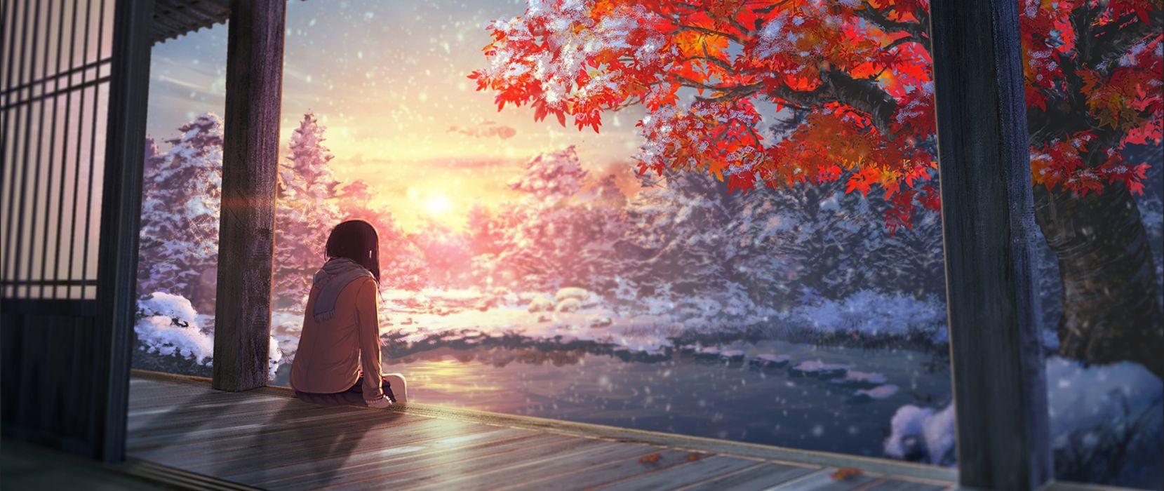 Anime landscape tree y girl cute long hair wallpaper 2560x1080 1659x700