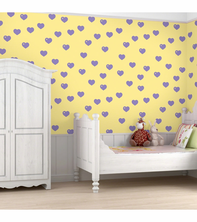 Wall Candy Butter with Lavender Hearts Peel and Stick Wallpaper   Full 800x900