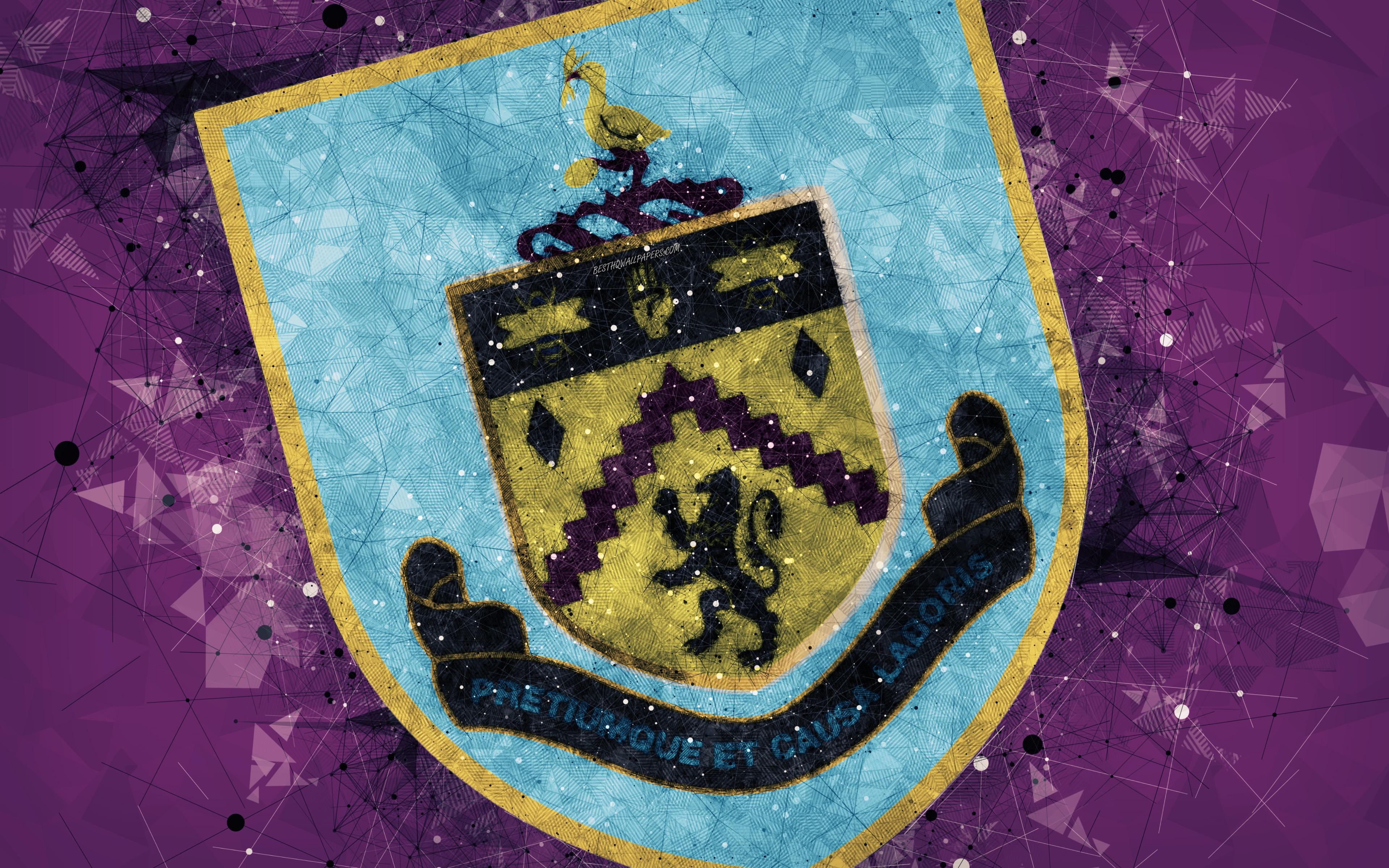 Download wallpapers Burnley FC 4k logo geometric art English 3840x2400