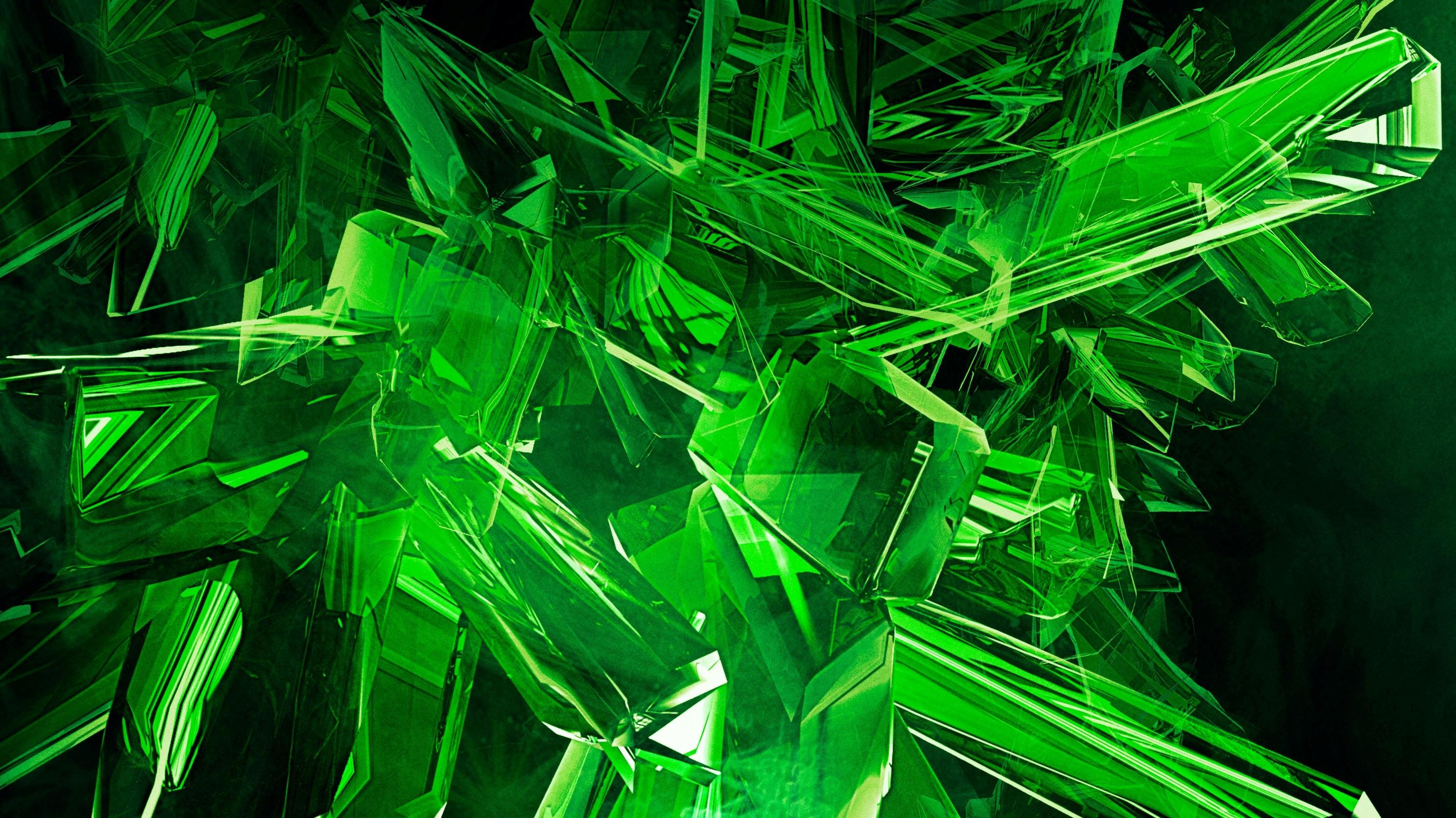 green 3d view abstract gems cool desktop hd wallpaper 14591jpg 2975x1673