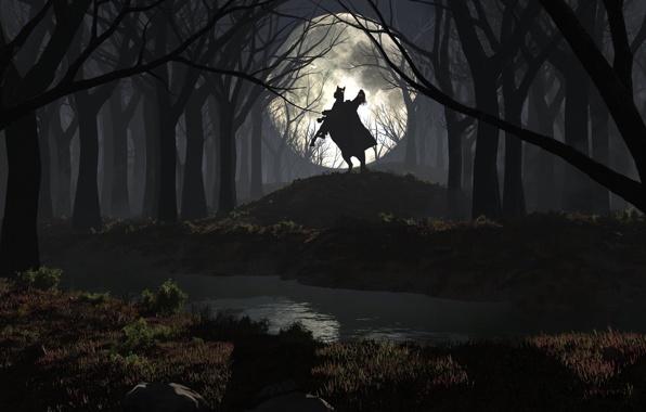 Wallpaper horseman headless moon night forest river wallpapers 596x380