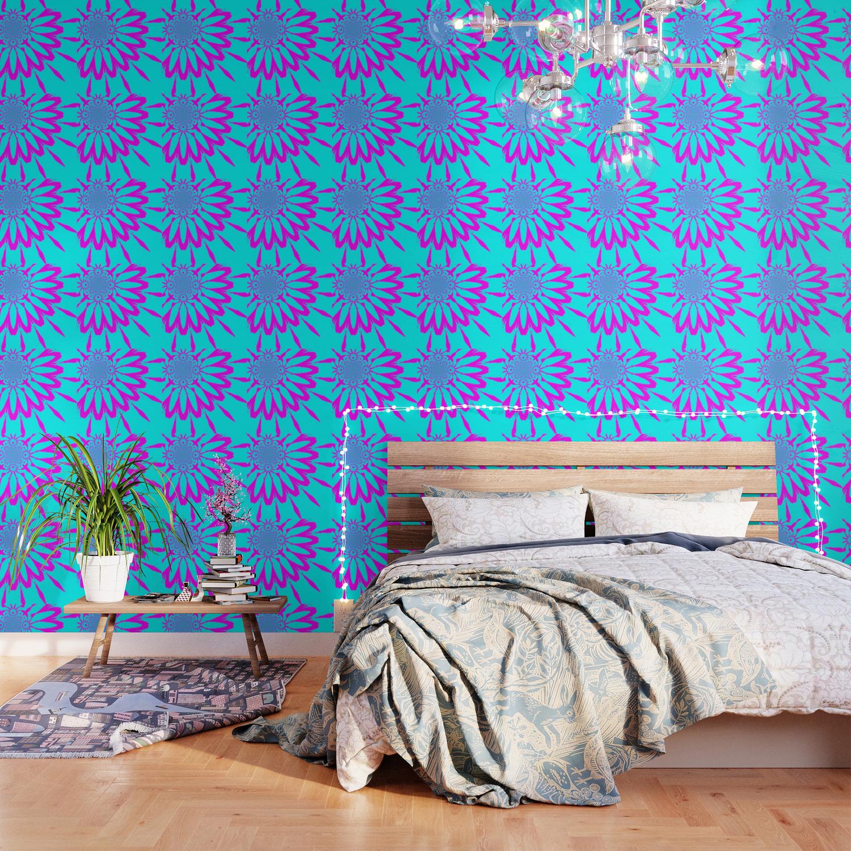 The Modern Flower Turquoise Fushia Wallpaper by vintageby2sweet 1500x1500