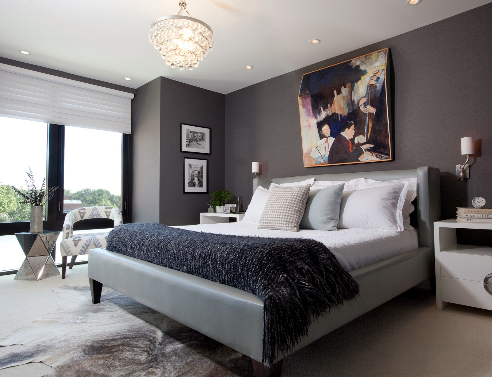 sleek modern master bedroom with charcoal gray wallpaper a leather 1600x1227