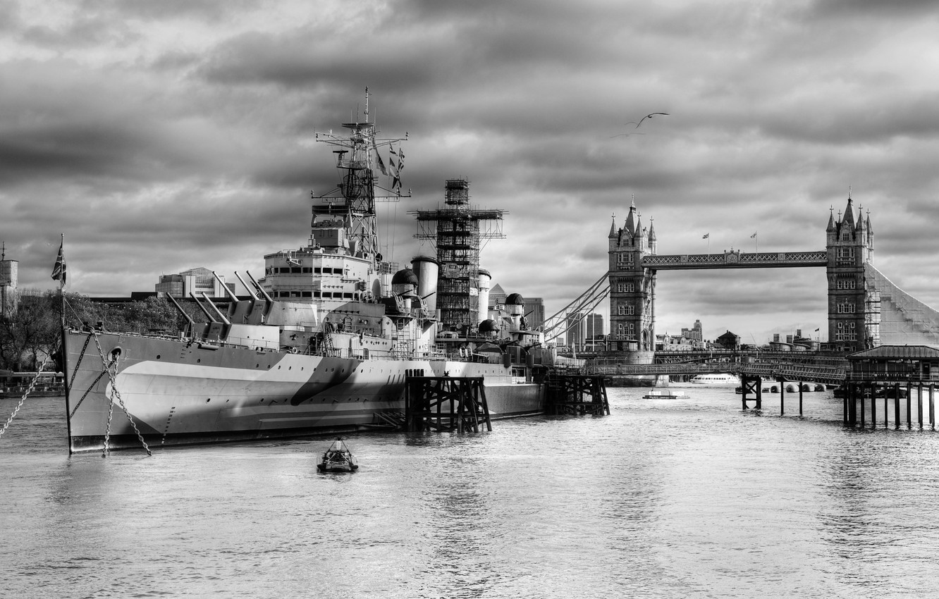 Wallpaper weapons war ship London UK black and white The 1332x850