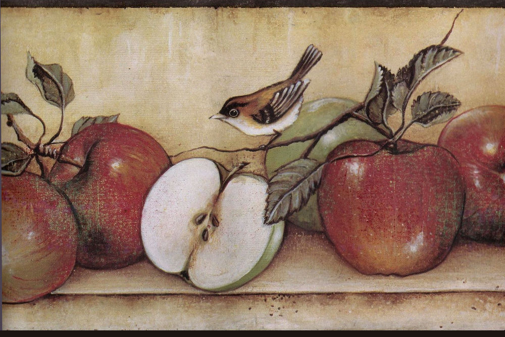Red Apple Apples Bird Shelf Kitchen Brown Wall Paper Border eBay 1000x668