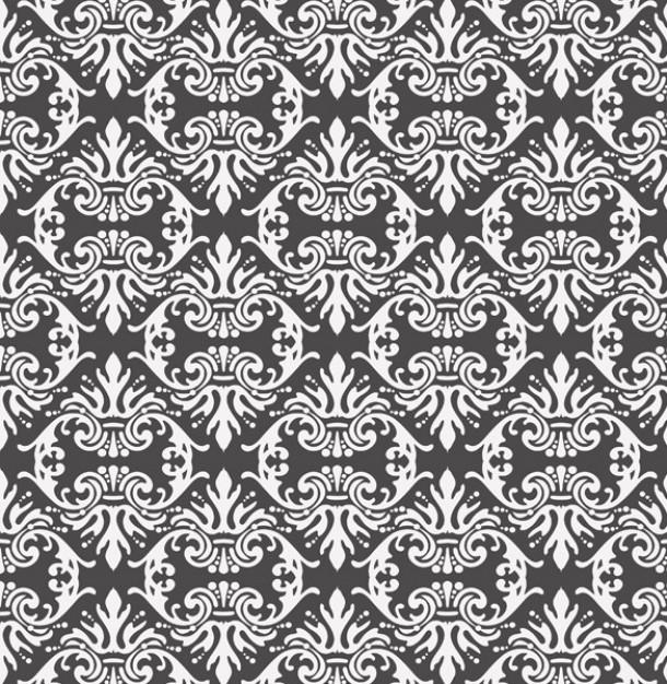 Vintage black white damask pattern background Vector Download 610x626