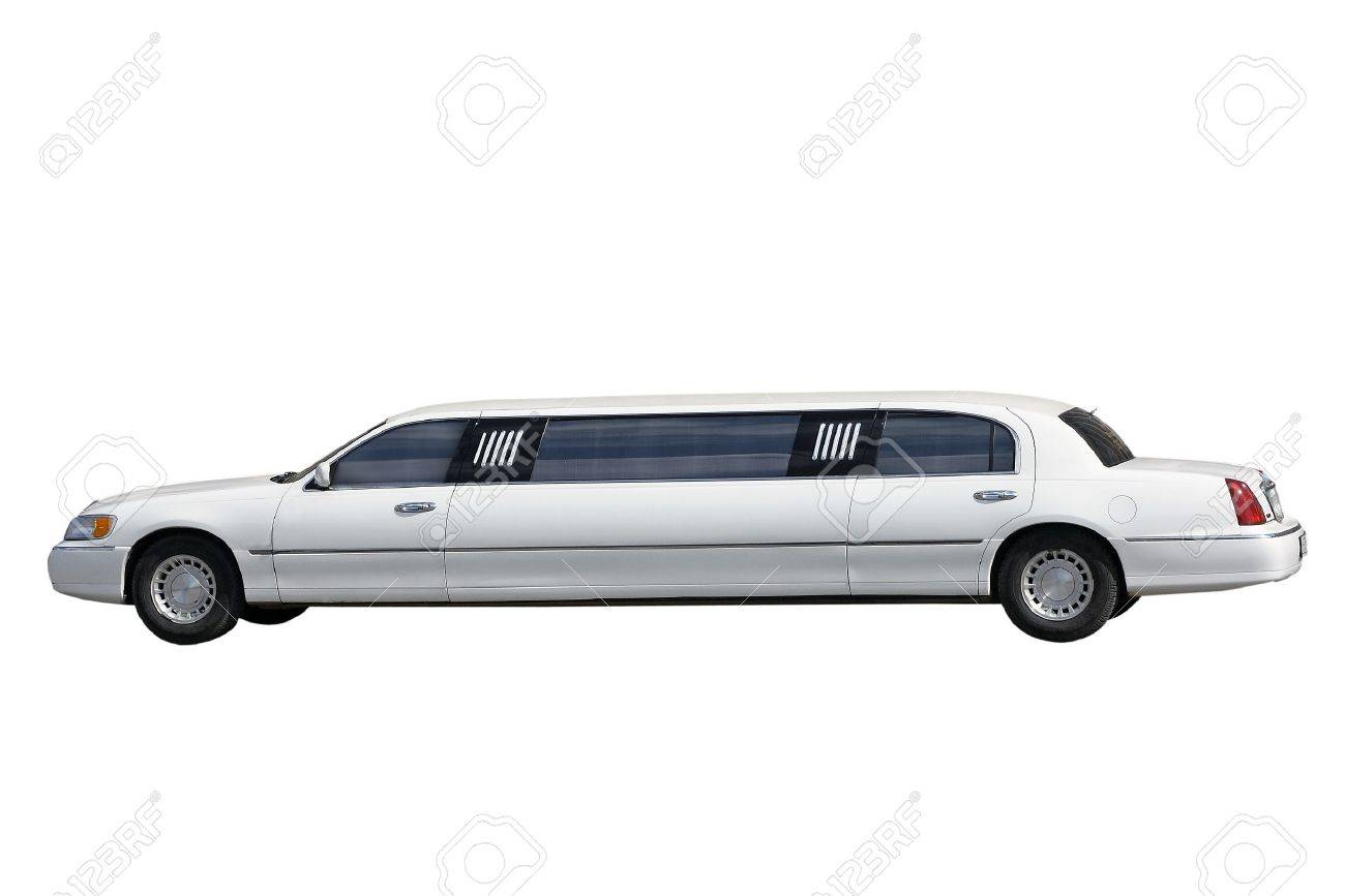 White Limousine Separately On A White Background Stock Photo 1300x867