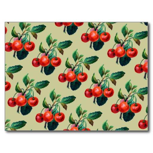 Vintage Sweet Red Cherries Fruit Wallpaper Pattern Postcard Zazzle 512x512