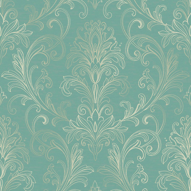 Damask Wallpaper TurquoisePearl Double Rol   Traditional   Wallpaper 640x640
