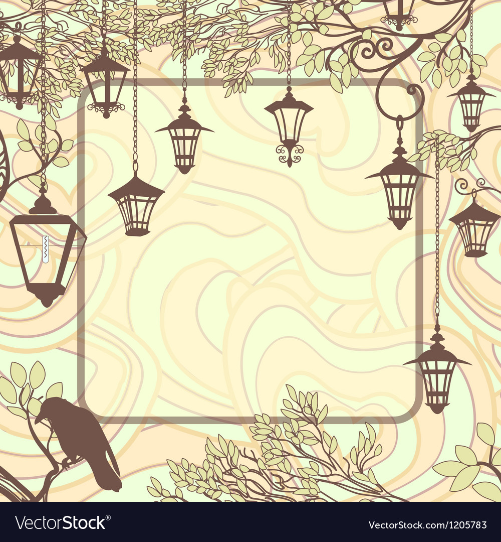 Vintage background with tree branches and retro Vector Image 1000x1080