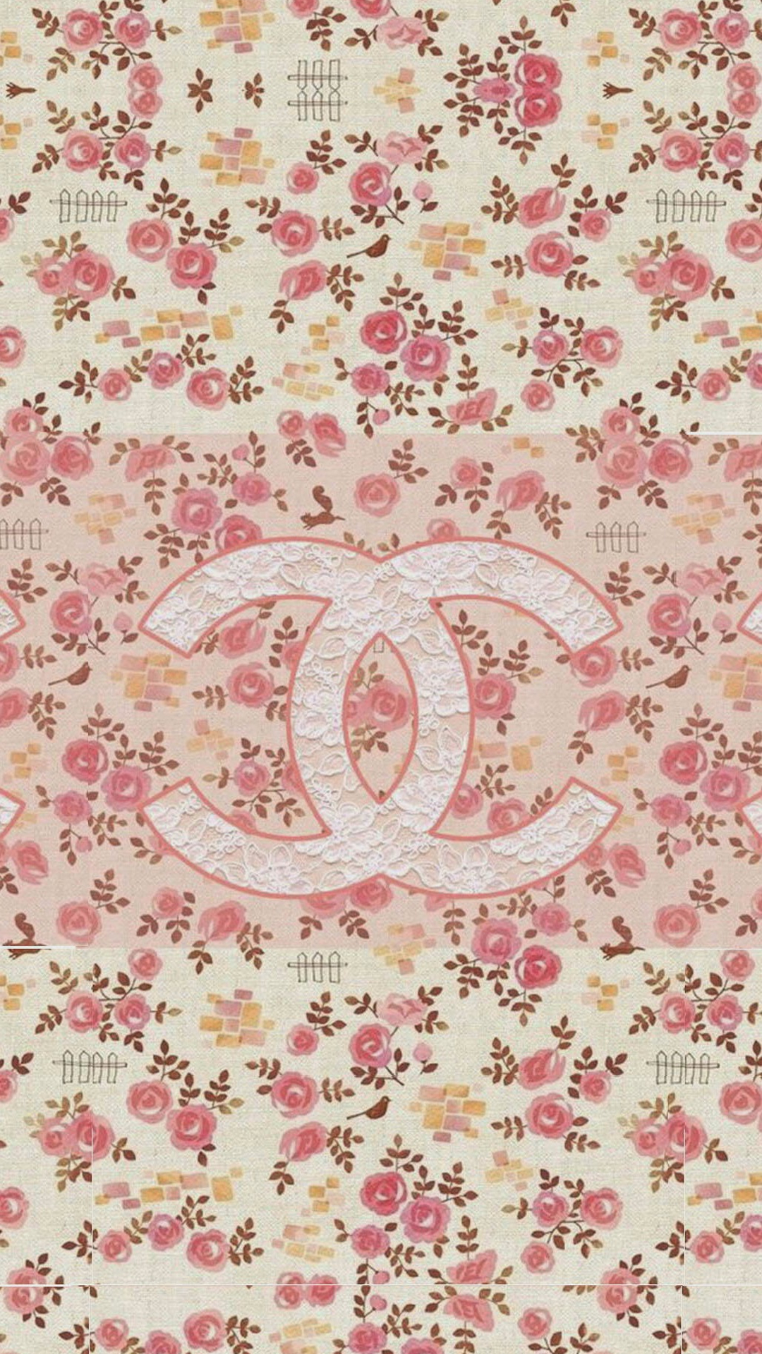 Coco Chanel Flowers Pattern Logo iPhone 6 Wallpaper Download iPhone 1080x1920