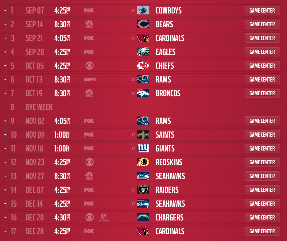 San Francisco 49ers 2014 schedule released 935x786