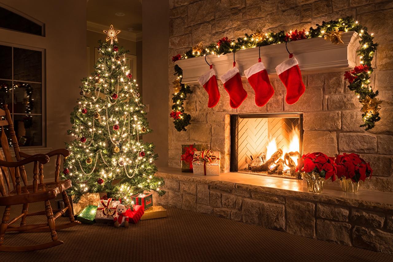 Desktop Wallpapers Christmas Socks Christmas tree Fireplace Fairy 1280x854