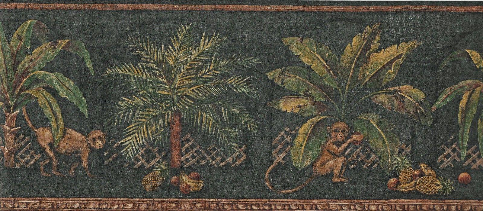Sale Tropical Palm Tree Leaves Black Background Wallpaper Border 1600x702