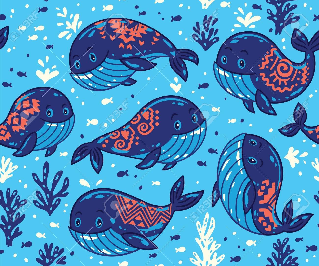 Cute Background With Cartoon Blue Whales Sea Life Vector 1300x1083