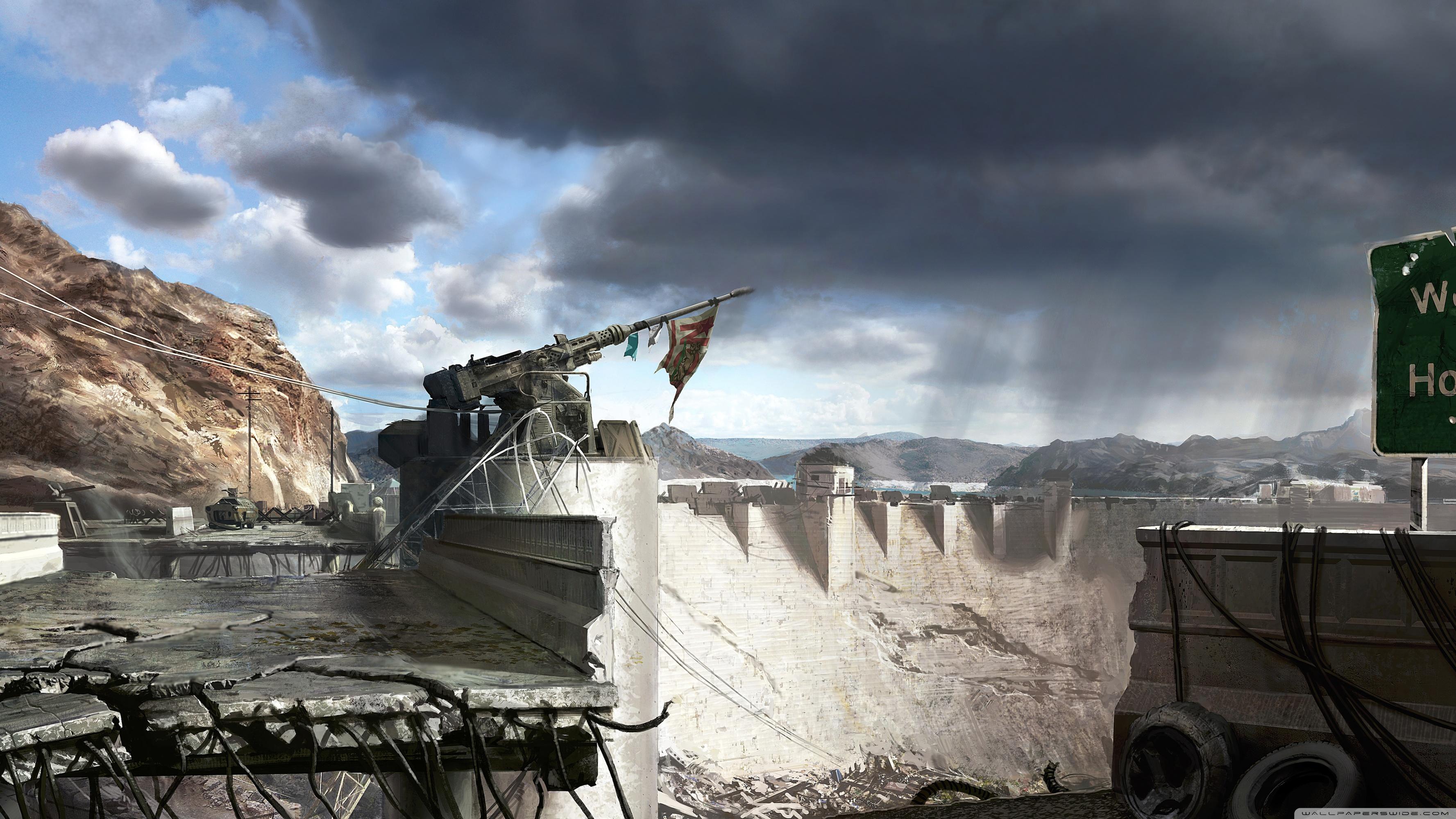 Fallout New Vegas Hoover Dam Concept Art 4K HD Desktop 3554x1999
