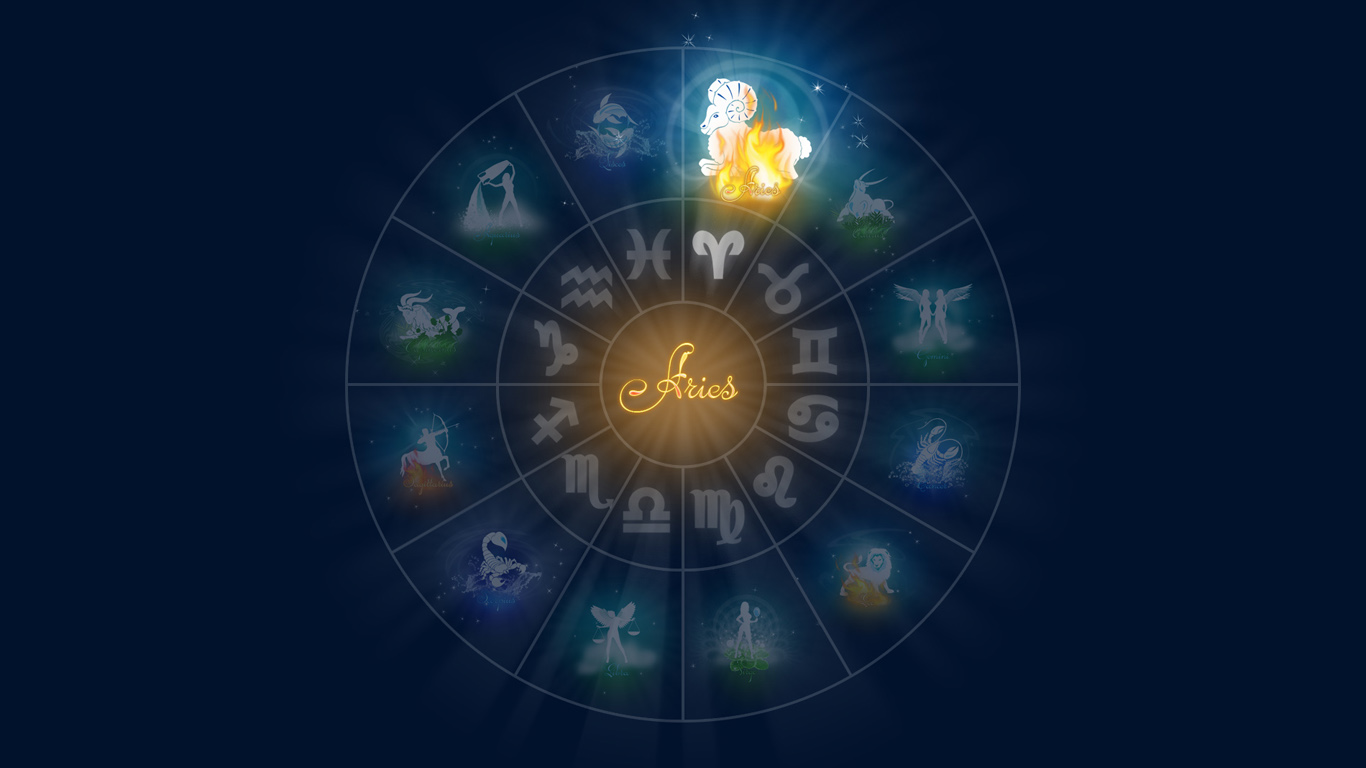 Aries Zodiac Sign Wallpaper 61295 1366x768px 1366x768