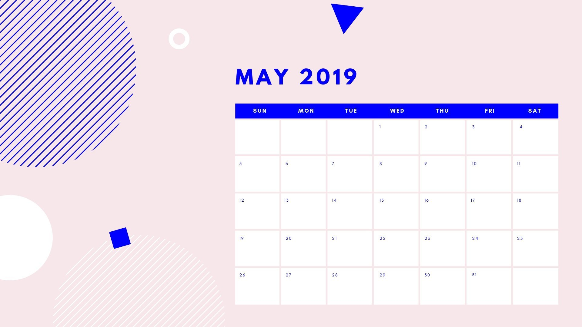 May 2019 Calendar Desktop Wallpaper   Printable Calendar 1920x1080