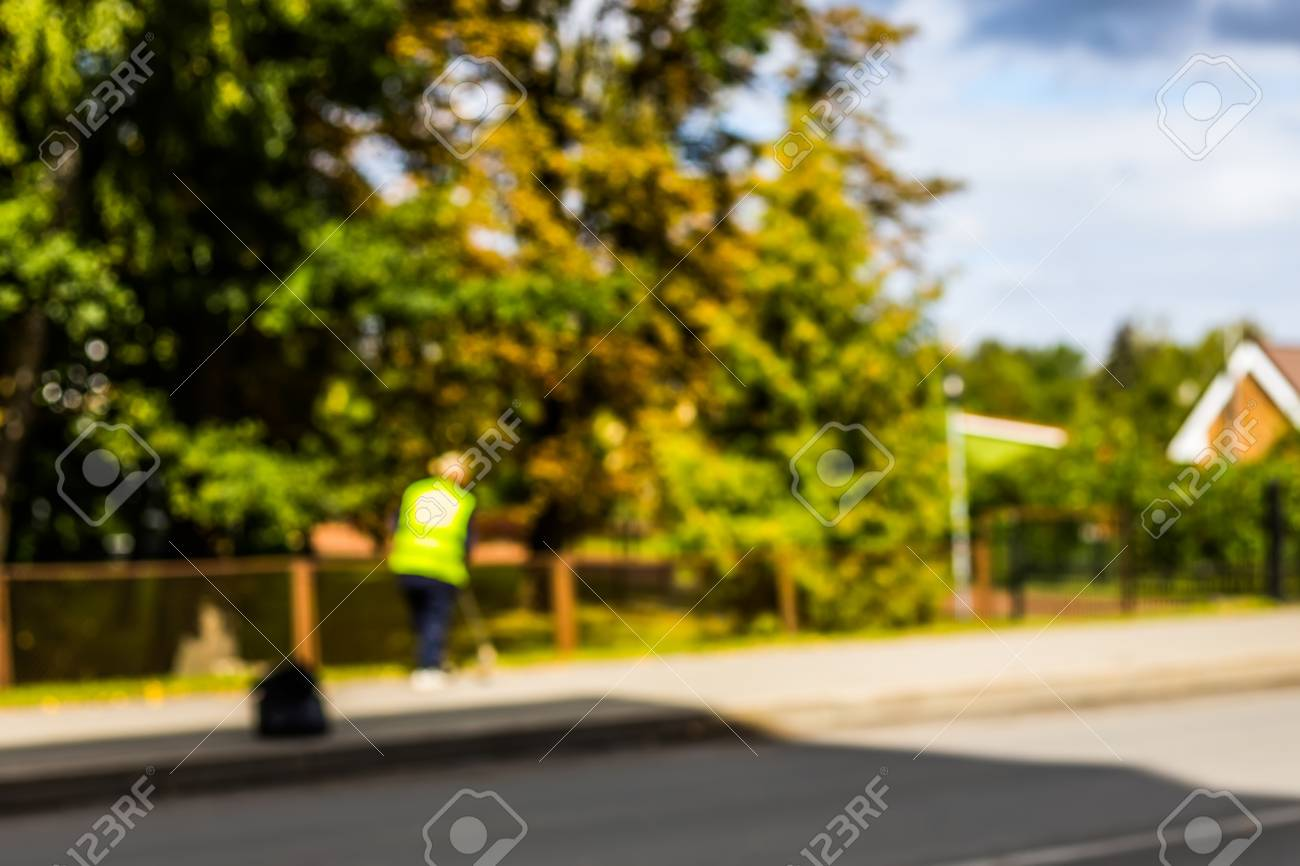 Abstract Blurred Background   Road Sweeper Worker Cleaning City 1300x866